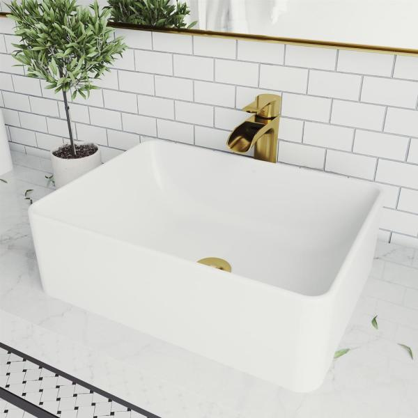 Vigo Matte Stone Amaryllis Composite Rectangular Vessel Bathroom Sink In White With Faucet And Pop Up Drain In Matte Gold Vgt1468 The Home Depot