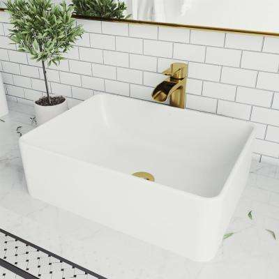 Amaryllis Matte Stone Vessel Bathroom Sink in White with Niko Faucet in Matte Gold
