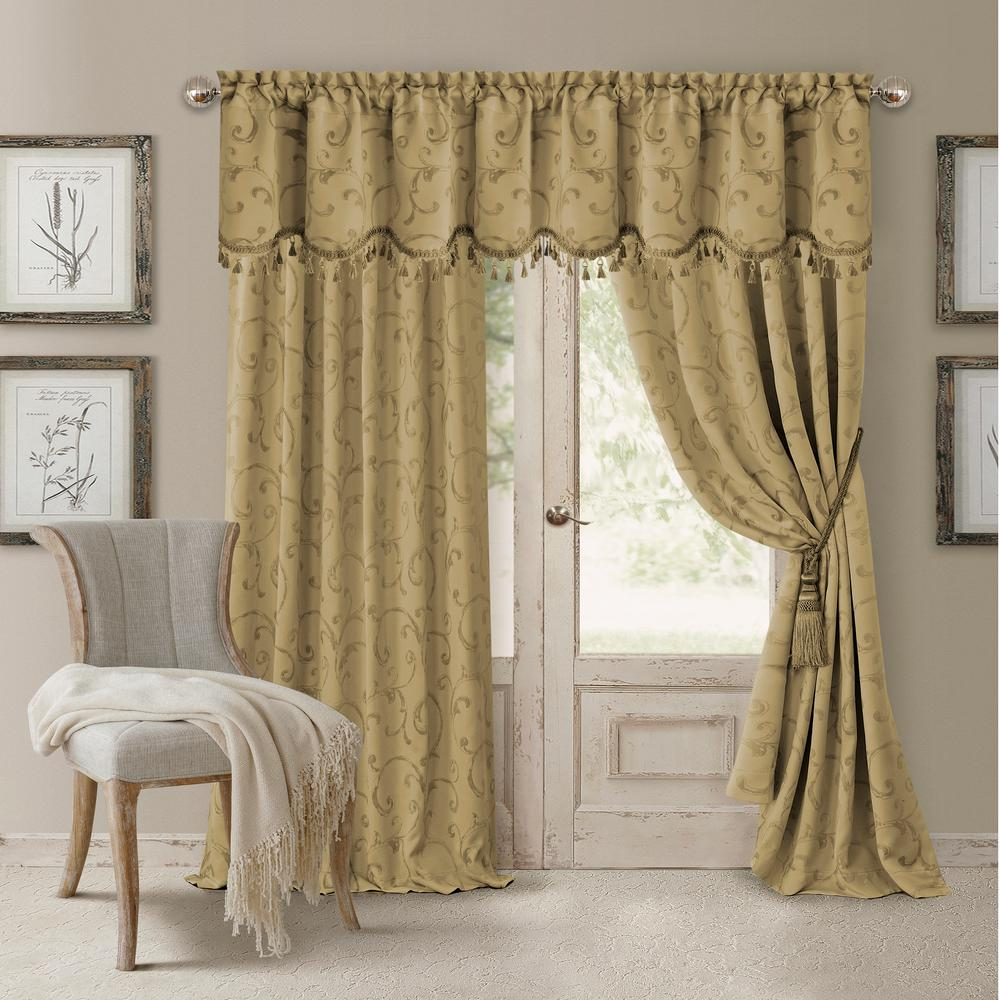 Elrene Blackout Gold Energy Efficient Room Darkening Rod Pocket Window Curtain Drape 52 In