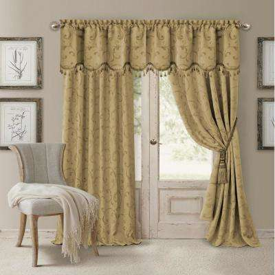 Blackout Gold Blackout Energy Efficient Room Darkening Rod Pocket Window Curtain Drape - 52 in. W x 95 in. L