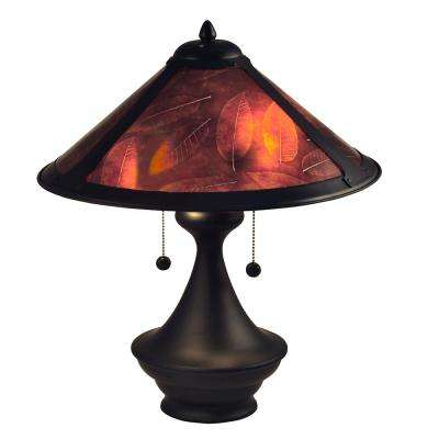 Chalton 20 in. Dark Antique Bronze Table lamp with Mica Shade