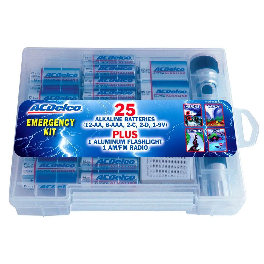 ACDelco Emergency Preparedness Kit with 25 Super Alkaline Battery AM/FM Radio and Flashlight