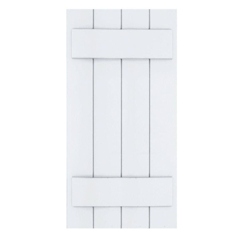 Winworks Wood Composite 15 in. x 30 in. Board & Batten Shutters Pair #631 White