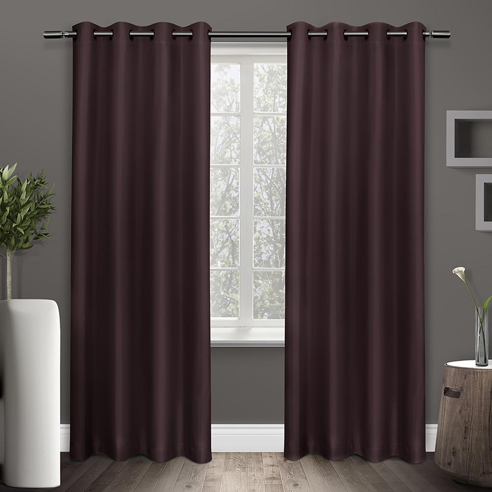 Wilko Faux Silk Eyelet Curtains Plum 167 X 137cm: Shantung Plum Faux Silk Thermal Grommet Top Window Curtain