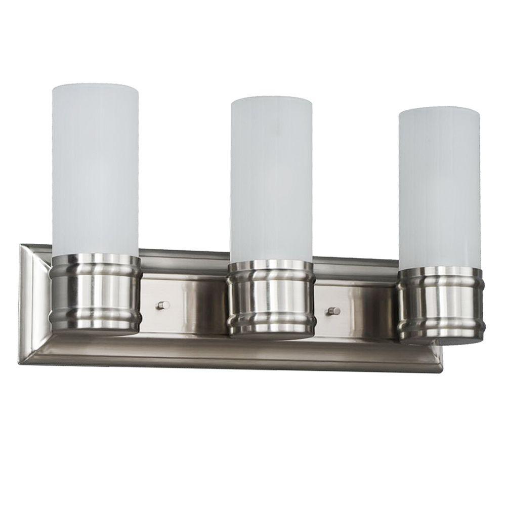 3-Light Brushed Nickel Wall Vanity Fixture