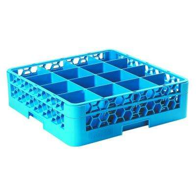 19.75x19.75 in. 16-Compartment 1 Extender Glass Rack (for Glass 4.19 in. Diameter, 4.75 in. H) in Blue (Case of 4)