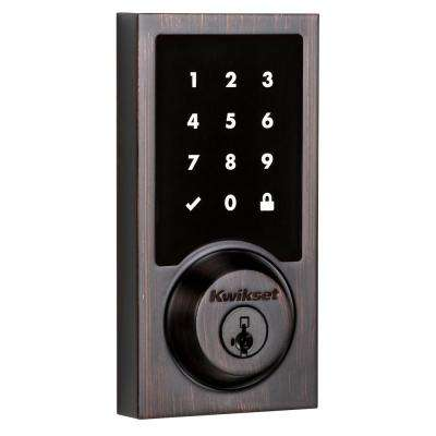 SmartCode 915 Touchscreen Contemporary Single Cylinder Venetian Bronze Electronic Deadbolt featuring SmartKey