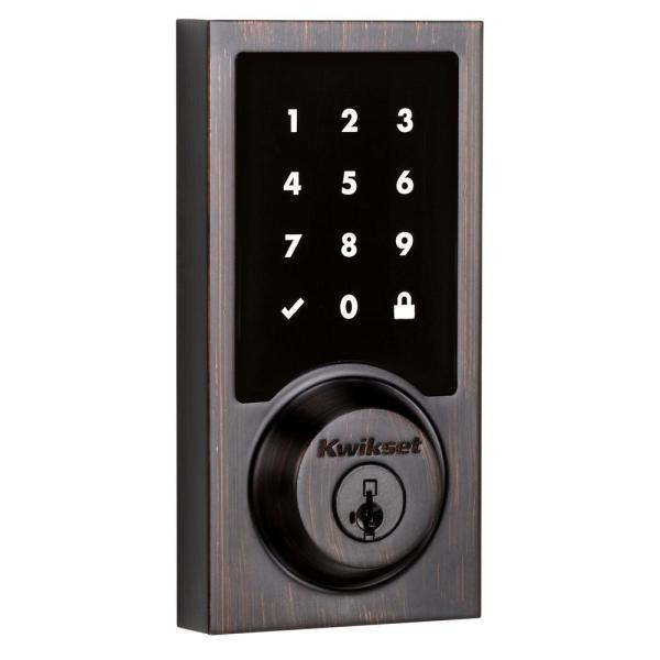 SmartCode 915 Touchscreen Contemporary Venetian Bronze Single Cylinder Electronic Deadbolt Featuring SmartKey Security