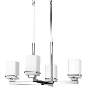 Metric Collection 4-Light Polished Chrome Chandelier with Etched Opal Glass Shade