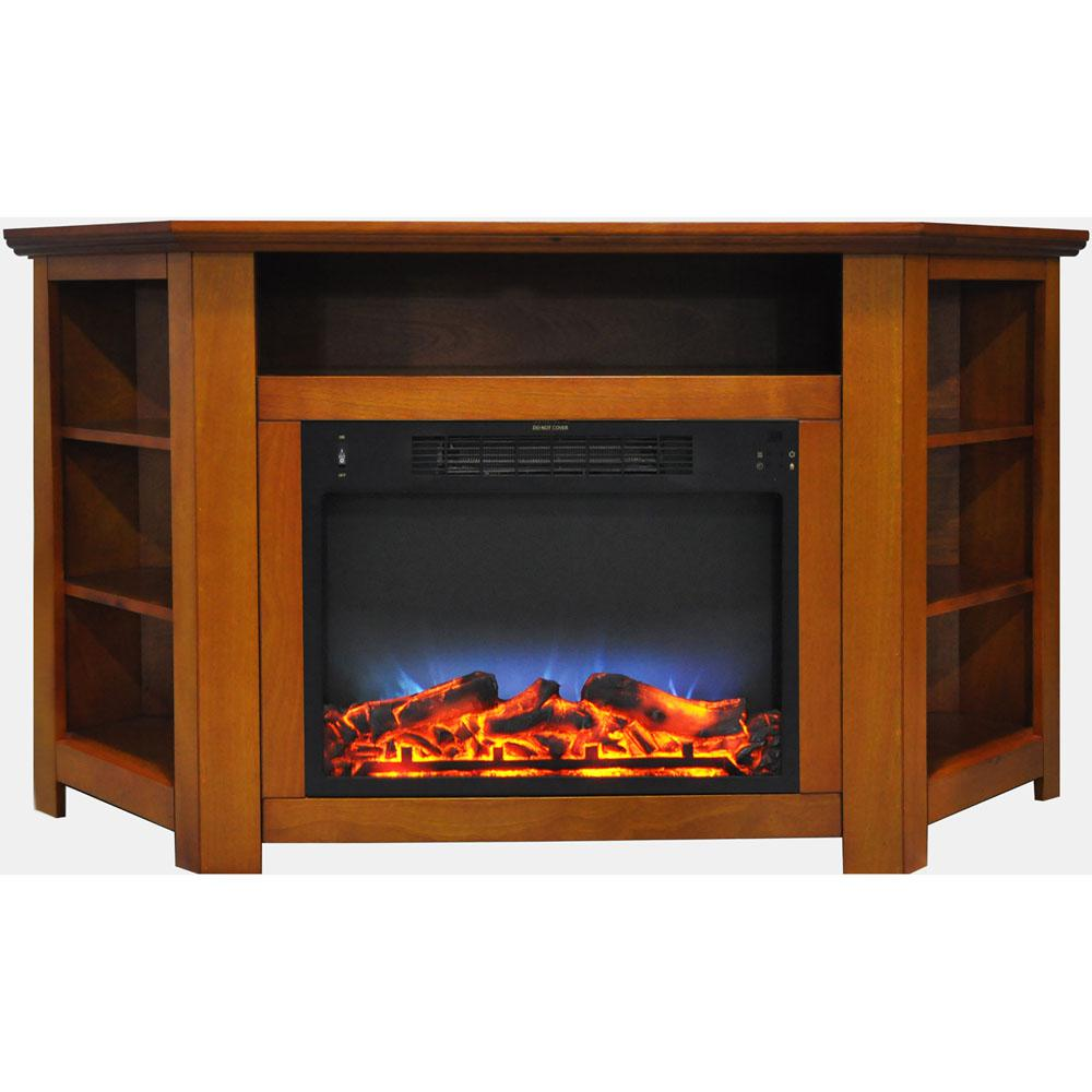 Stratford 56 in. Electric Corner Fireplace in Teak with LED Multi-Color