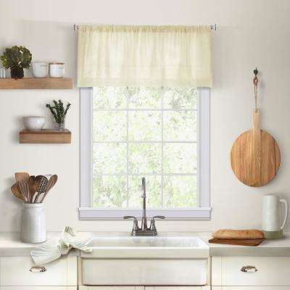 Elrene Cameron Single Window Kitchen Valance in Ivory - 60 in. W x 15 in. L