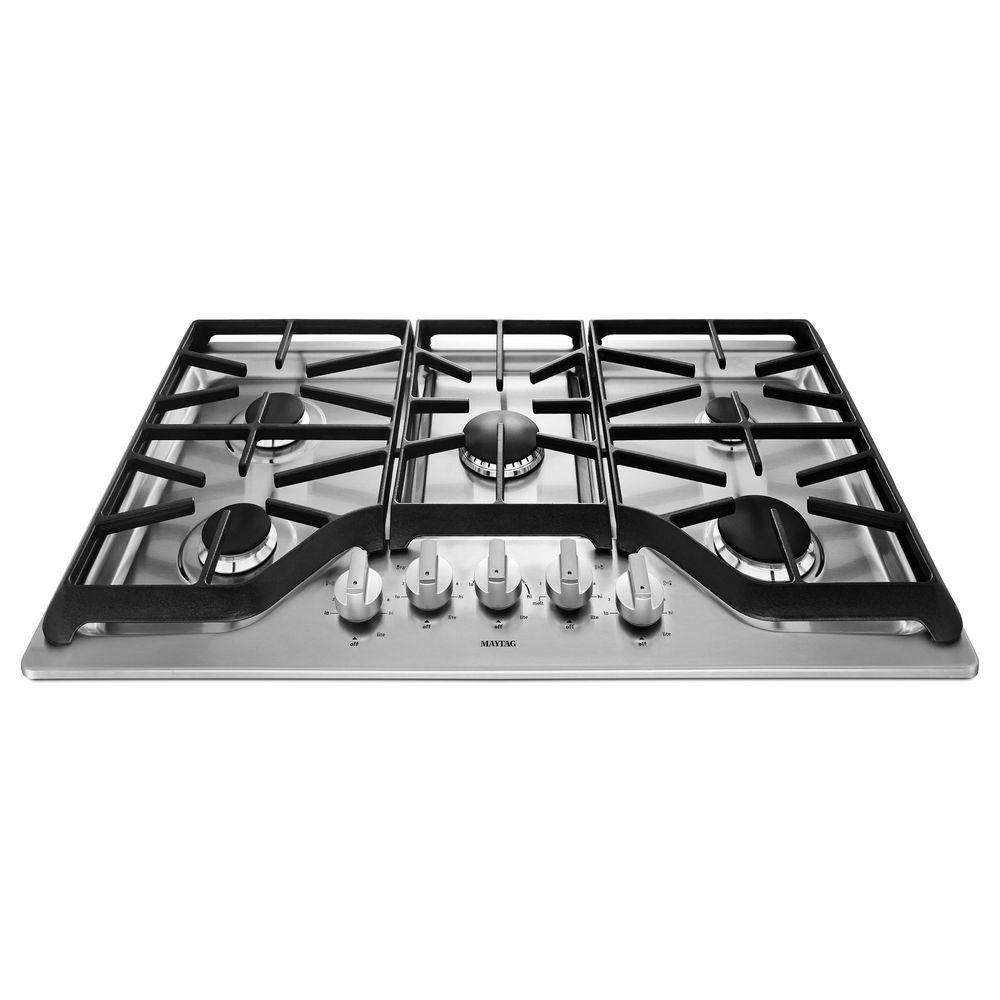 Maytag 36 In Gas Cooktop Stainless Steel With 5 Burners Including 18000 Btu