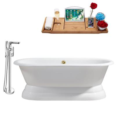 Tub, Faucet and Tray Set 60 in. Cast Iron Flatbottom Non-Whirlpool Bathtub in Glossy White