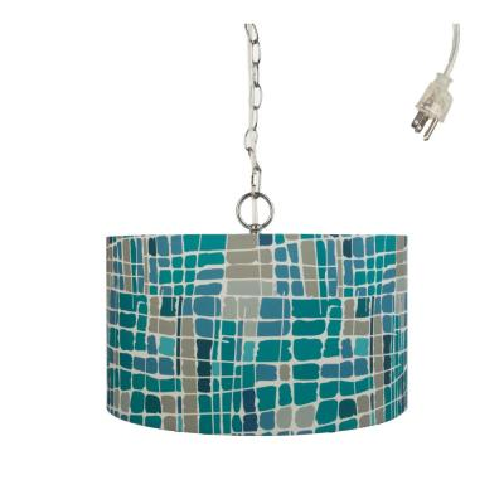 Kris Ruff 1-Light Blue Plug-In Pendant