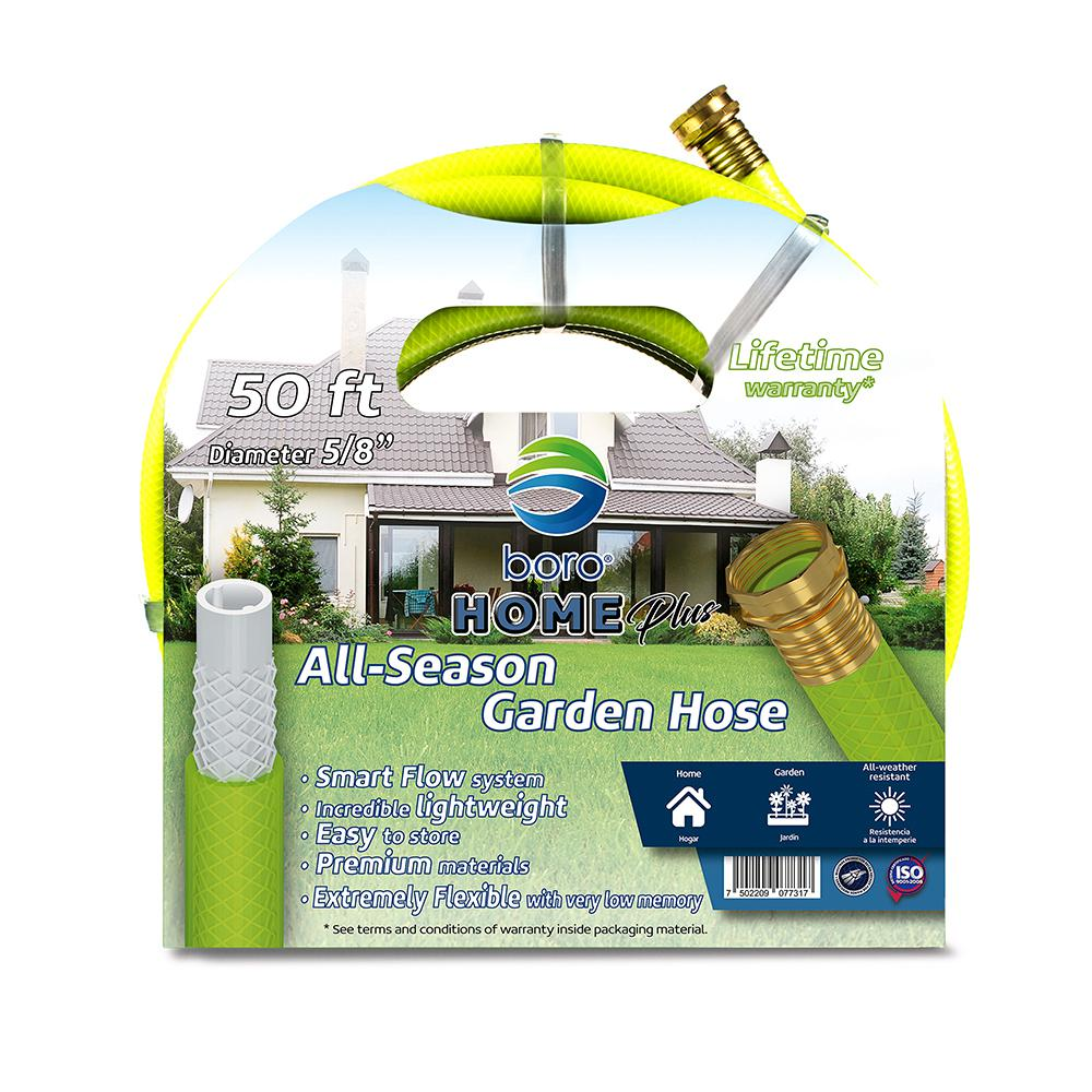 Boro Premium 5/8 in. Dia x 50 ft. Extra flexible Garden Hose with Smart Flow Technology The Boro home all-season garden hose is incredibly lightweight and flexible without sacrificing effectiveness. This hose features our Smart Flow technology and leak-proof seal. It is ideal for home and garden use all year round.