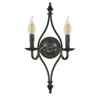 Ebert 2-Light Antique Bronze Wall Sconce