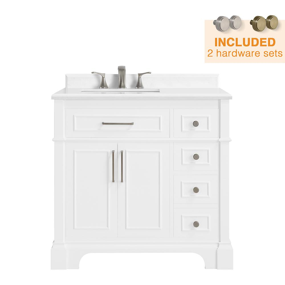 Home Decorators Collection Melpark 36 in. W x 22 in. D Bath Vanity in White with Cultured Marble Vanity Top in White with White Sink