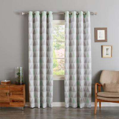 84 in. L Mint Mixed Triangle Room Darkening Curtain (2-Pack)