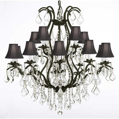 Versailles 15-Light Black Wrought Iron and Crystal Chandelier with Black Shades