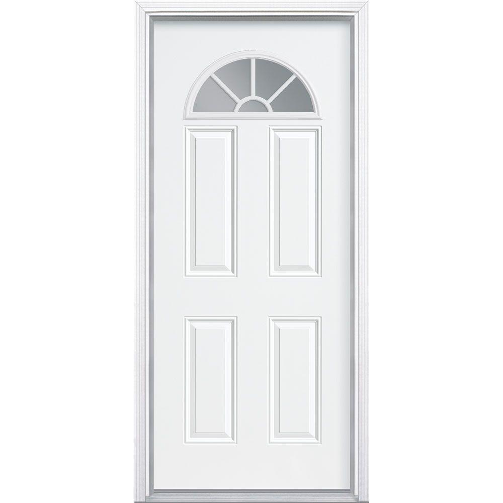 Masonite 32 in. x 80 in. Premium Fan Lite Right-Hand Inswing Primed Steel Prehung Front Door with Brickmold