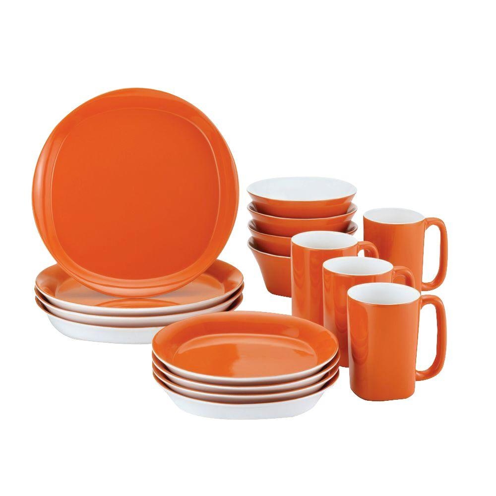 Rachael Ray Round and Square 16-Piece Dinnerware Set in Tangerine