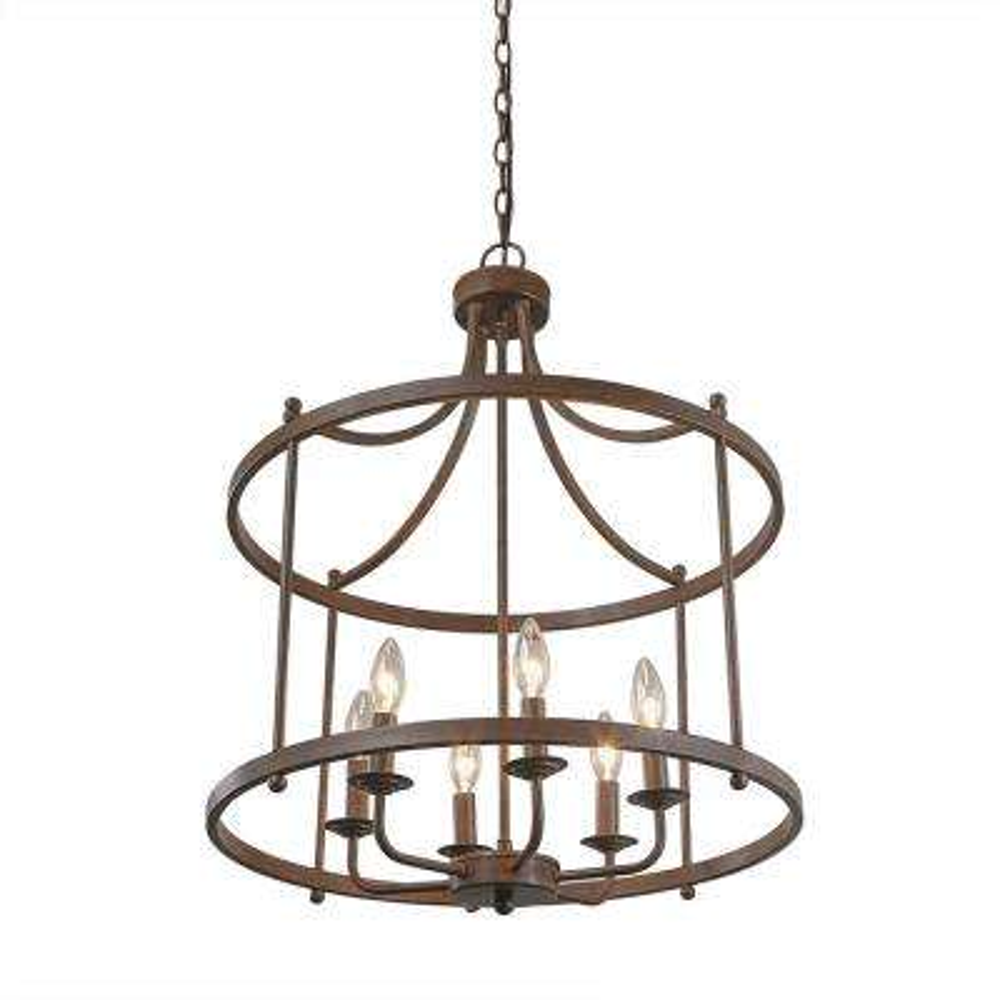 6-Light Bronze Hanging Lantern Chandelier