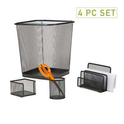 Metal Mesh Desk Organizer Set with Trash Can, Black (4-Pieces)