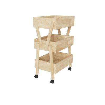 Freemont 37.6 in. Natural Solid Wood 3 Shelf Storage Cart