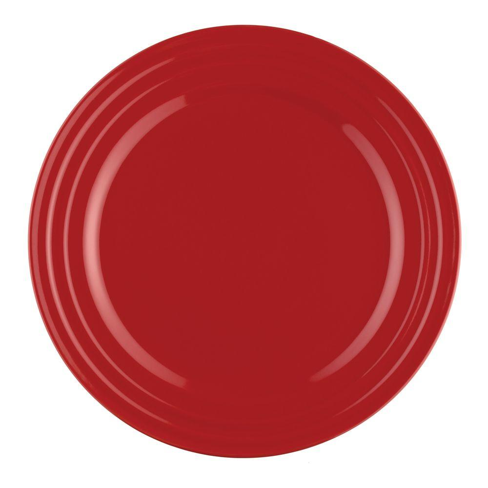 Rachael Ray Double Ridge 4-Piece Dinner Plate Set in Red-DISCONTINUED