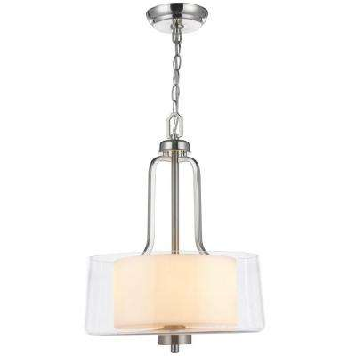 2-Light Brushed Nickel Pendant with Glass Shade