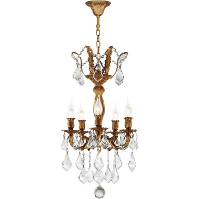 Versailles 15 in. Dia x 22 in. H 5-Light French Gold Finish and Clear Crystal Mini Chandelier