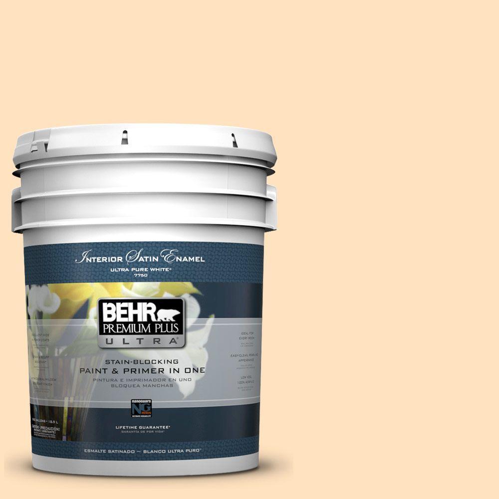 BEHR Premium Plus Ultra 5-gal. #320C-2 Cream Yellow Satin Enamel Interior Paint