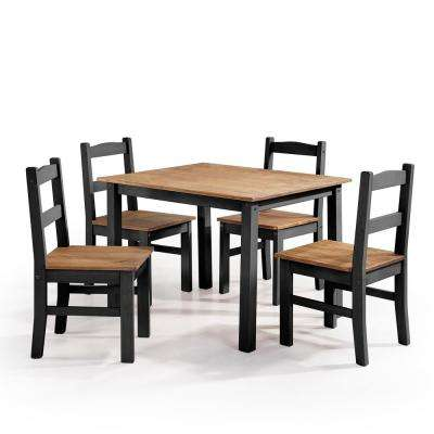 York 5-Piece Black Wash Solid Wood Dining Set with 1-Table and 4-Chairs