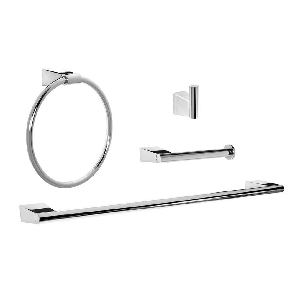 Henshaw 4-Piece Bath Hardware Set in Polished Chrome