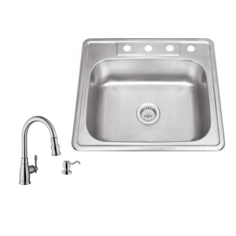 Drop-in 25 in. 4-Hole Stainless Steel Kitchen Sink in Brushed Stainless