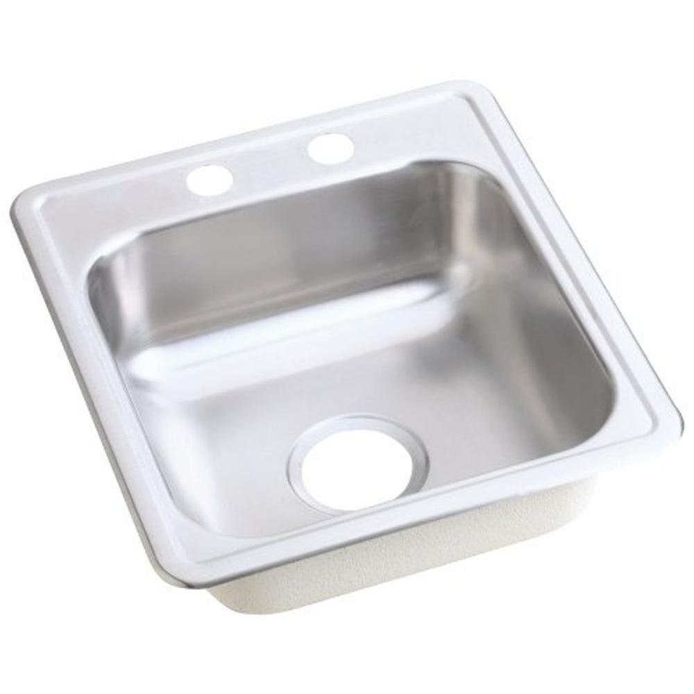 Elkay Dayton Drop In Stainless Steel 17 In. 2 Hole Bar Sink
