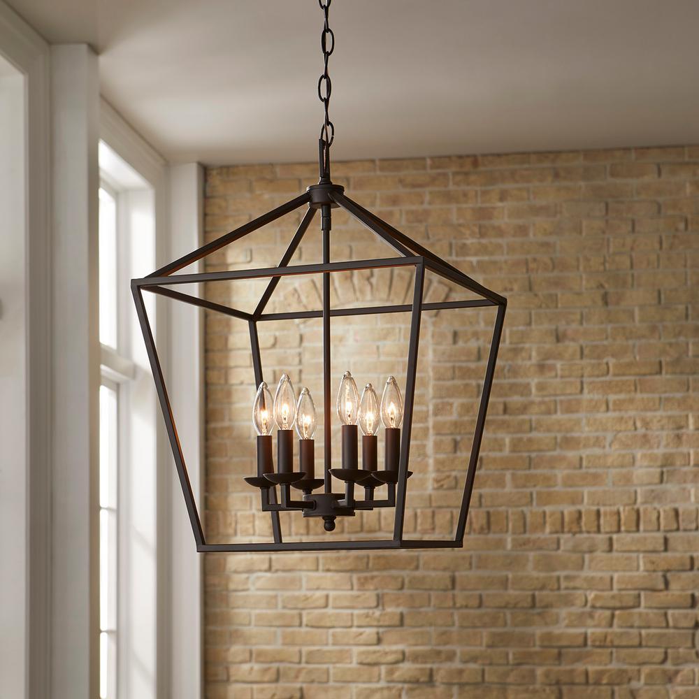 Weyburn 6-Light Bronze Caged Chandelier