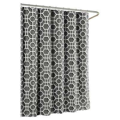 Lenox Cotton Luxury 72 in. W x 72 in. L Shower Curtain in Charcoal