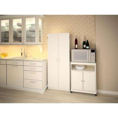Exceptional Landry White Microwave Cart With Storage