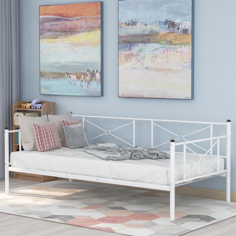 Harper & Bright Designs White Twin Metal Daybed Frame with Steel Slats was $270.0 now $206.25 (24.0% off)