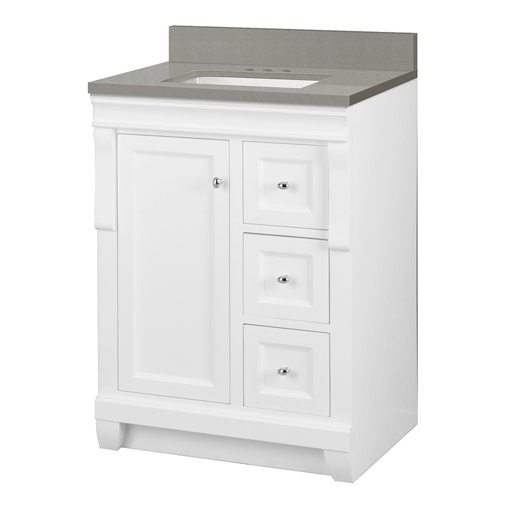Foremost Naples 25 in. W x 22 in. D Vanity Cabinet in White with Engineered Quartz Vanity Top in Sterling Grey with White Basin
