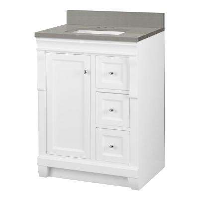 Naples 25 in. W x 22 in. D Vanity Cabinet in White with Engineered Quartz Vanity Top in Sterling Grey with White Basin