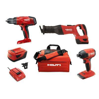 22-Volt Lithium-Ion Cordless High Torque Drill Driver/Impact Driver/Reciprocating Saw Combo Kit (3-Tool)