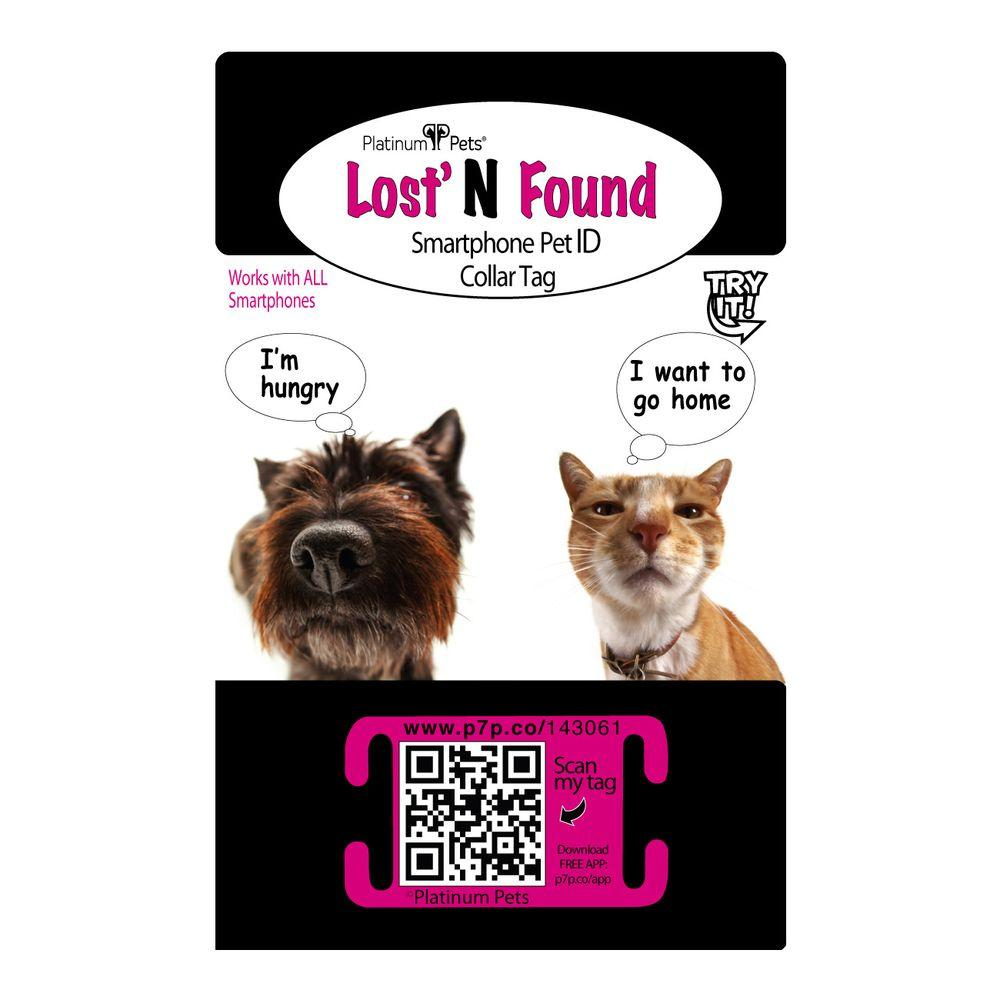 Platinum Pets Original Smartphone Pet ID Recovery Small Pink Cat Collar Tag
