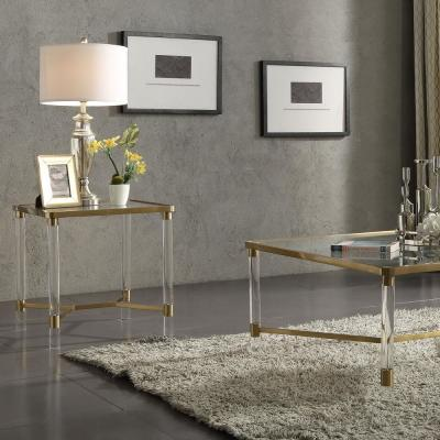 Penstemon Gold Stainless Steel and Glass End Table