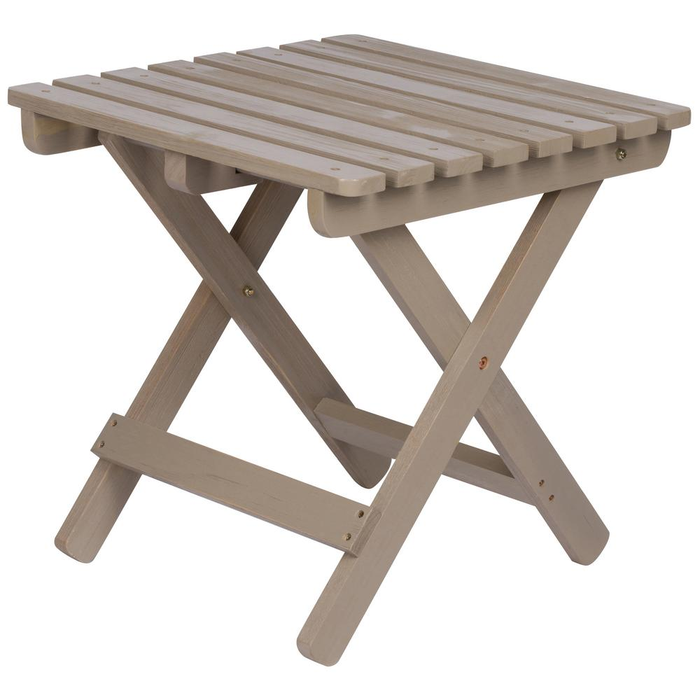 Merveilleux Tall Adirondack Square Wood Taupe Folding Side Table In Grey