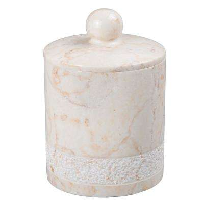 Spa Hand Carved Cotton Ball Holder in Champagne Marble