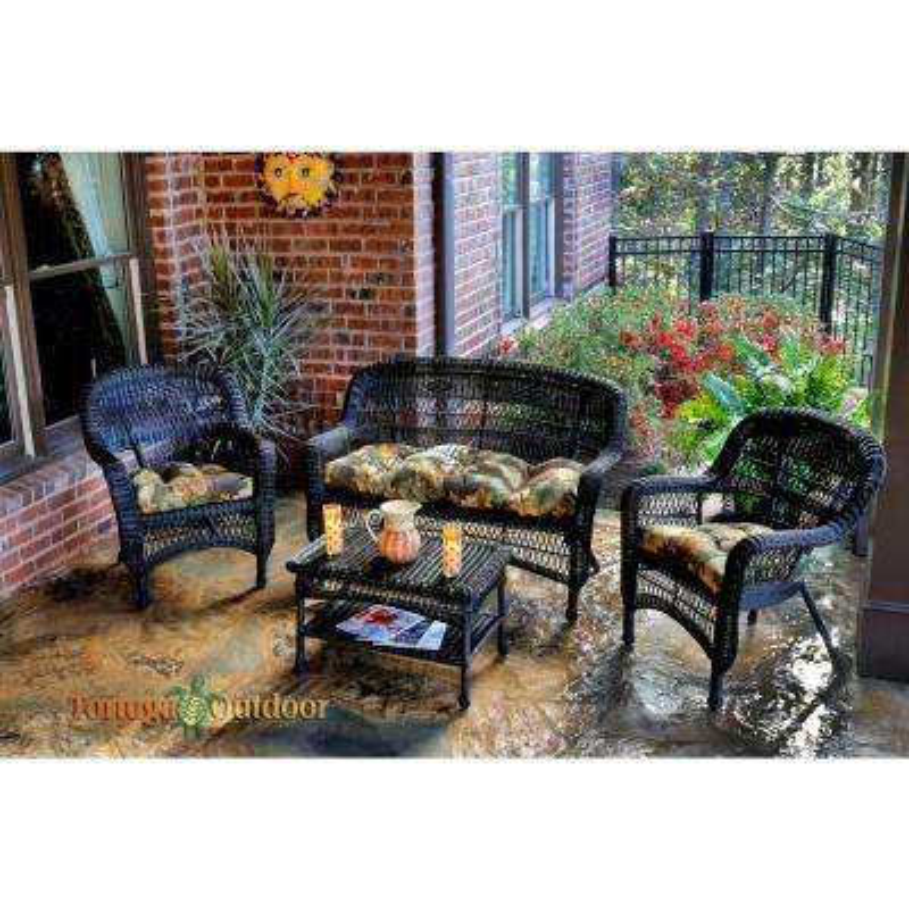 Portside Dark Roast 4-Piece Wicker Patio Seating Set with Callie Coffee Cushions