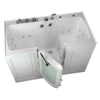 5 ft. Tub4Two 2 Seat Acrylic Walk-In Whirlpool Bathtub in White with Center Outward Opening Door, Ella Faucet,Dual Drain