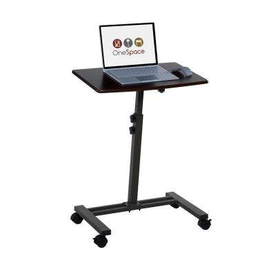 Dark Walnut Angle And Height Adjustable Mobile Laptop Computer Desk With  Single Surface